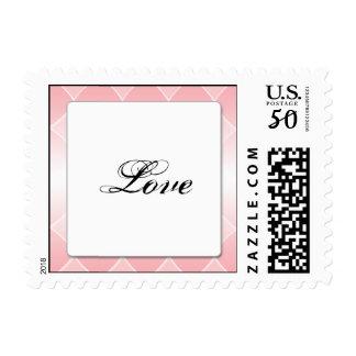 Pink Diamond with Rounded Corners Wedding Postage