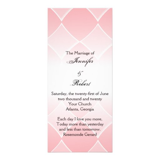 Pink Diamond with Rounded Corners Wedding Program Rack Cards
