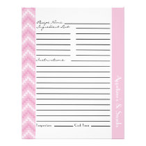 Pink Diamond Zigzag Chevrons Recipe Sheets Flyer