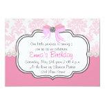 "Pink Diamonds and Pearls Damask Invitation 5"" X 7"" Invitation Card"