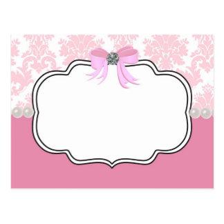 Pink Diamonds and Pearls Damask Invitation Postcard