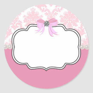 Pink Diamonds and Pearls Damask Invitation Round Sticker