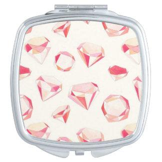Pink Diamonds Geometric Hand Drawn Mirrors For Makeup