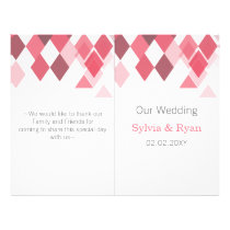 pink diamonds Geometrical bi fold Wedding program