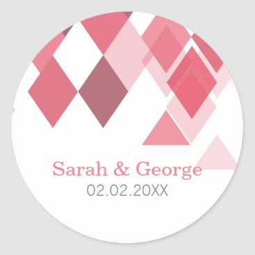 pink diamonds Geometrical Wedding favors stickers