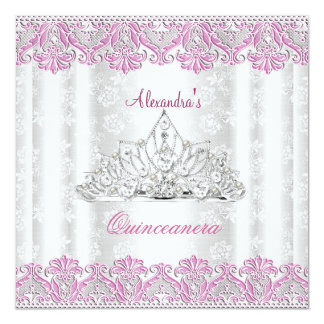 Pink Diamonds Lace Image Quinceanera 15th Birthday Card