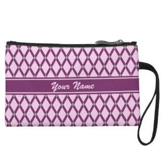 Pink Diamonds-Magenta Purple Frames Mini-Clutch Wristlet Wallet