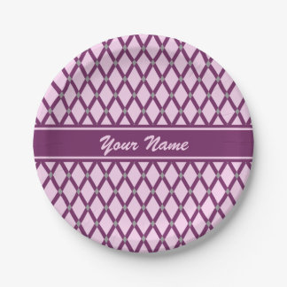 Pink Diamonds-Magenta Purple Frames Paper Plate