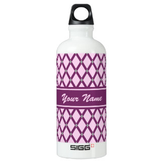 Pink Diamonds-Magenta Purple Frames Water Bottle