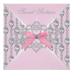 Pink Diamonds Pink Sweet 16 Birthday Party Card