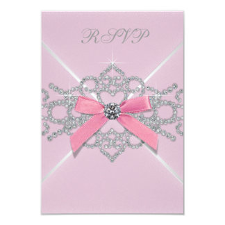 Pink Diamonds Pink Sweet 16 Birthday Party RSVP Card