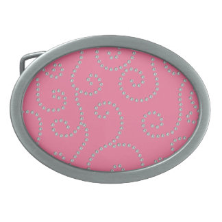Pink diamonds swirls oval belt buckle