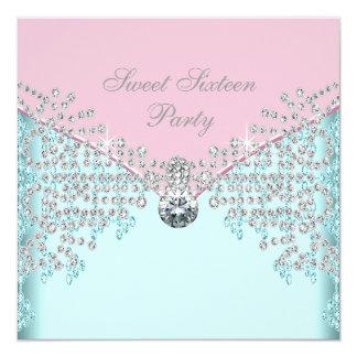 Pink Diamonds Teal Blue Sweet Sixteen Birthday Card