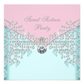 Pink Diamonds Teal Blue Sweet Sixteen Birthday Invite