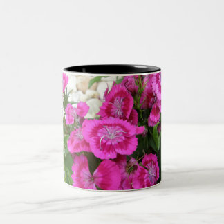 Pink Dianthus/Sweet William Two-Tone Coffee Mug