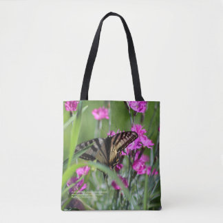 Pink Dianthus & Yellow Swallowtail Butterfly Tote Bag