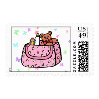 pink diaper bag postage stamp