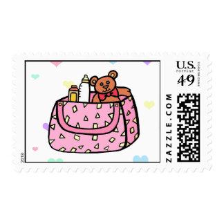 pink diaper bag stamps