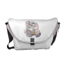 Pink Diaper Bag with Hughbert the Baby Elephant