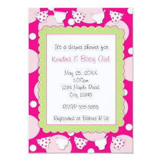 Pink diaper shower baby girl invitation