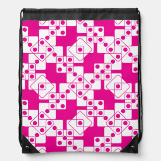 Pink Dice Drawstring Backpack