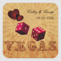 pink dice Vintage Vegas favor stickers