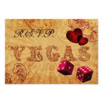 pink dice Vintage Vegas rsvp 3.5 x 5 Card