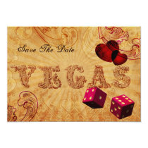 pink dice Vintage Vegas save the date Card