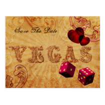 pink dice Vintage Vegas save the date Postcard
