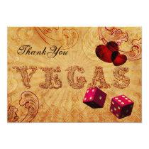 pink dice Vintage Vegas Thank You Card