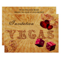 pink dice Vintage Vegas wedding invites