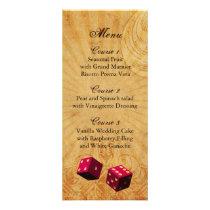 pink dice Vintage Vegas wedding menu