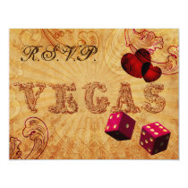 pink dice Vintage Vegas wedding rsvp Card
