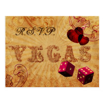 pink dice Vintage Vegas wedding rsvp Postcard