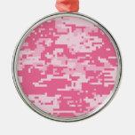 Pink Digital ACU Camoflage Pattern Round Metal Christmas Ornament