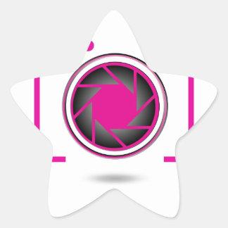 Pink digital camera star sticker