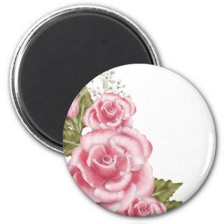 Pink Digital Roses 2 Inch Round Magnet