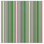 [ Thumbnail: Pink, Dim Gray & Dark Green Stripes Fabric ]