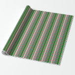 [ Thumbnail: Pink, Dim Gray & Dark Green Stripes Wrapping Paper ]