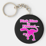 Pink Dino is Fierce Funny Pink Design Key Chains