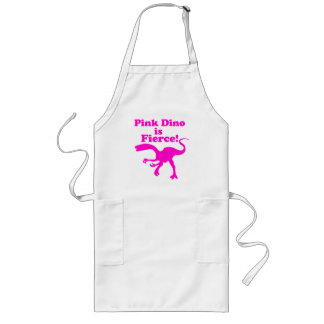 Pink Dino is Fierce Funny Pink Design Long Apron