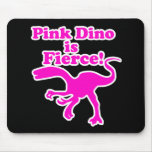 Pink Dino is Fierce Funny Pink Design Mousepads