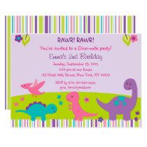 Pink Dinosaur 1st Birthday Invitation