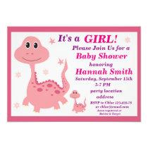 Pink dinosaur baby shower invitation
