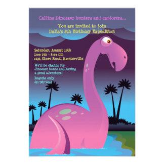 Pink Dinosaur Birthday Party Invitation
