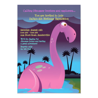 Pink Dinosaur Birthday Party Invitation