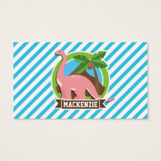 Pink Dinosaur; Blue & White Stripes Business Card