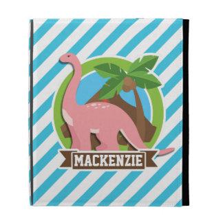 Pink Dinosaur; Blue & White Stripes iPad Folio Cases