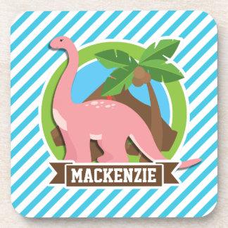Pink Dinosaur; Blue & White Stripes Drink Coasters