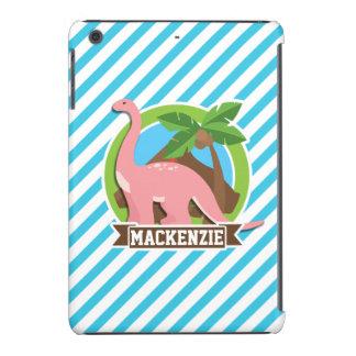 Pink Dinosaur; Blue & White Stripes iPad Mini Retina Case